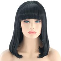 Corto Bob peluca con flequillo recto pelucas sintéticas de Cosplay del cordón lleno peluca delantera con Bangs Partido calor fibra resistente peluca de pelo para las mujeres