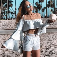fashion white strapless ruffle blouse bell flare sleeve slas...