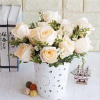 Sahte Gül Bunch (6 sapları / adet) Simülasyon Yağlıboya Güller Köpük Meyve Düğün Ev Dekoratif Yapay Çiçekler için