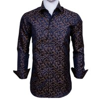 Fast Shipping Silk Men's Long Sleeve Shirts Jacquard Woven Blue Gold Floral Slim Shirts for Dress Party Wedding Exquisite Fashion CY-0006