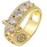 Роскошные ювелирные изделия Женский белый Свадебное кольцо Установить Мода стерлингового серебра 925 Дисковая кристалл циркона Обручальное кольцо Обручальное для женщин R456