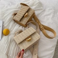 Straw Bags 2020 New Wide Straps Square Sling Bag Shoulder Cr...