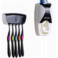 Accessoires de salle de Set Brosse à dents Porte-distributeur automatique de dentifrice Porte-brosse à dents support mural rack Salle de bain Outils Set VT0334