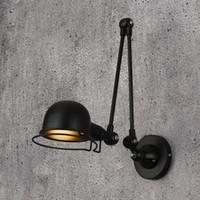 لوفت خمر الصناعية jielde ذراع طويل قابل للتعديل الجدار مصباح تذكير قابل للسحب E14 أدى أضواء الجدار لغرفة النوم غرفة المعيشة