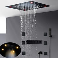럭셔리 가장 완벽한 매트 블랙 샤워 세트 숨어서 천장 대형 강우 LED 샤워기 폭포 안개 온도 조절 배스 시스템