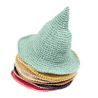Ragazze cappello di paglia Bambini Cappello da sole Primavera Bambino Beach Caps Tessuti a mano Strega Spiky Cappello 9 colori