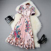 Avrupa ve Amerikan kadın giyim 2020 yaz yeni stil kısa kollu dantel mozaik zincir baskı moda pilili elbise