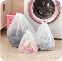 Lavado de nylon Bolsa de lavandería 3 Superficie con cordón sujetador de la ropa cestas de malla Bolsa de lavandería del hogar cuidado de la colada OOA7572-3