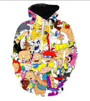 New Fashion Cool Felpa con cappuccio 3D Stampa Mens Womens Casual Cartoon Rugrats 90's Hot Style Streetwear Vestiti RL0220