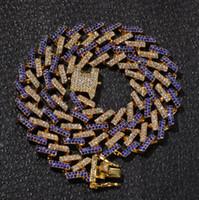 La dernière chaîne de haute qualité de la chaîne cubaine 15mm collier de hip hop de mode de bijoux en gros micro-incrusté couleur zircon hommes