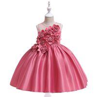 Los niños de la princesa vestido de novia de moda vestidos de niña de flores realizan vestidos de noche de fiesta Vestidos de flores de satén para niños
