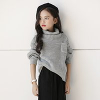 2019 new autumn winter teenagers turtleneck sweater gray gir...
