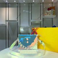 꽃 워시 어깨 가방 다기능 지갑 패션 투명 봉투 클러치 가방 PVC 다채로운 레이저 체인 핸드백 원래 로고