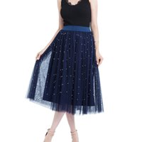 New 2019 Women Plus Size Bead Mesh Tulle Skirt Pleated Princ...