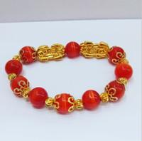 BXZ001 Nuevo color de oro 24K joyería de aleación de pixiu pulsera ajustable brazaletes pixiu nueva doble piyao ópalo rojo piedra natural pulsera de las mujeres