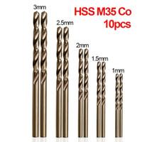 10PCS / مجموعة تويست مثقاب مجموعة HSS M35 المشارك مثقاب 1MM 1.5MM 2.5MM 2mm في 3MM تستخدم لالصلب الفولاذ المقاوم للصدأ