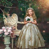 2019 الذهب منتفخ الفتيات فساتين مهرجان مطرزة القوس وشاح جميل زهرة فتاة فساتين الاطفال ملابس رسمية bc1484