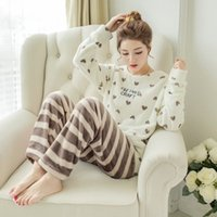 Qweek Ladies Pajamas Sleewwurs Женщины Pajamas Устанавливает бархат Pijamas Mujer Зима Pajamas для женщин 2019 Домашняя одежда Набор Dropshipping Y200425