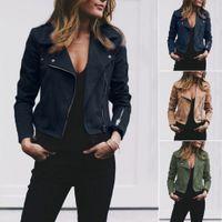 Outwear Frauen-Damen Klassische Lederjacke Mäntel Langarm-Zip Up Windjacke Biker Fluggelegenheits Top Coat Outwear