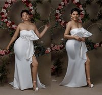 White Cheap Strapless Sheath Bridesmaid Dress New Arrival High Side Split Wedding Guest Gown Long Maid Of Honor Prom Evening Dress