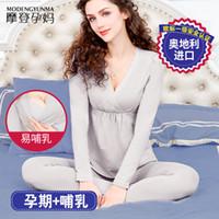 여자 긴 존스 정장 수유 감금 서브 속옷 세대 서울 잠옷 Plumule 셔츠와 바지 가을 홈 가구