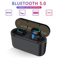 DHL Stock Q32 T-WS 블루투스 5.0 이어폰 무선 헤드폰 Blutooth 이어폰 핸즈프리 헤드폰 스포츠 이어 버드 게임 헤드셋 전화