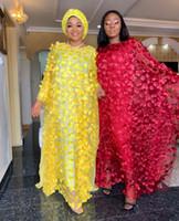 Новые женщины Роскошные Sexy Вышивка Аппликация платья с длинным рукавом Экипаж шеи Сыпучие Maxi платье африканских женщин плюс размер платья + жилет A353