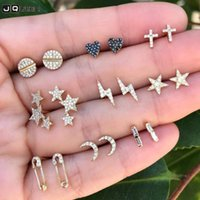 Cute Small Gold Crystal Star Heart Moon Vintage Small Stud E...