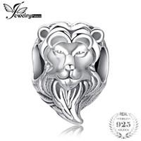 Jewelrypalace cesur kalp 925 ayar gümüş aslan başkanı charm boncuk fit bilezikler kadınlar için güzel hediyeler gibi yeni sıcak satış