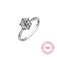 Mode Sterling Silver 925 Bijoux Bijoux Solitaire Big Blanc Cz Diamond Engagement Dames Bague Bague Silver Femmes pas chers