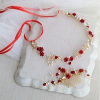 Dower moi nuptiale florale rouge Accessoires cheveux Serre-tête d'or de mariage Peigne Accessoires femmes Bijoux Prom Coiffe
