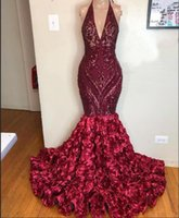 Brillantes con cordones Lentejuelas sirena Prom Vestidos de lujo V-cuello apliques Borgoña africana 3D floral trompeta vestido de noche 2020