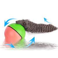 Nueva Mascota comadreja divertido motorizado Rolling Ball Jump aparece en movimiento vivo de juguete castor Chase bola electrónico Mascotas IC654