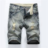 Estiramiento de los hombres Jeans Cortos Moda Casual Slim Fit de Alta Calidad Elástico Pantalones Cortos de Mezclilla Pantalones Ropa de Verano Masculina