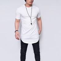 뜨거운 스타일 2019 남자 새로운 라운드 칼라 짧은 소매 티셔츠 남자 긴 유럽과 미국 셔츠