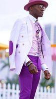 Brand New Men Suits White and Brown Groom Tuxedos Peak Lapel Groomsmen Wedding Best Man 2 Pieces ( Jacket + Pants +Tie ) L552