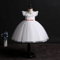 Sweet Blanc Rose Vert Violet Orange Fille Pageant Robes de fille de fleur Robes de soirée princesse robes jupe enfant Custom Made 2-14 H313273