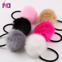10PCS Rabbit Faux Fur Pompoms Women Hairband Rope Rings Ties...