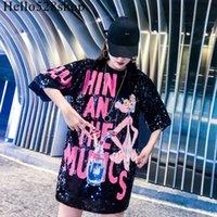 Hello528shop Mode Tops à paillettes de léopard rose pour femmes - T-shirt à manches courtes en vrac Grande Taille Noir Chemises à paillettes Robe Dames