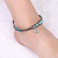 Blau Türkis Fußkettchen Meer Perlen Fußkettchen Multi Layer Fußkettchen Armband Schmuck böhmischen Fußkettchen für Frauen