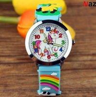 Новый единорог пони детские часы светящиеся указатель сплав раковины аналоговые кварцевые наручные часы 3D красочные полосы конфеты силиконовые мультфильм девушка мальчик часов