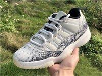 2019 otantik 11 düşük SE yılan derisi beyaz gri erkek basketbol ayakkabı gerçek karbon fiber CD6846-002 ışık kemik açık spor ayakkabı 40-47