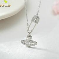 Форзац 925 Sterling Silver Pin Planet Цирконий ожерелье женщин Мода цепи изящных ювелирных изделий Простые золота Колье Подвески