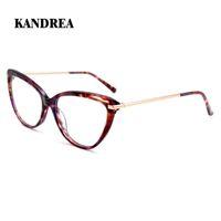 KANDREA 2020 Frame Moda Mulheres Óculos Cat Eye Acetato Óculos Big óculos graduados Óculos tartaruga ópticos
