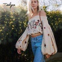 TEELYNN kısa Boho omuz yaz bluz kapalı 2020 çiçek Nakış seksi uzun şık kadın bluzlar Hippi blusas T200429 manşonlu bluz