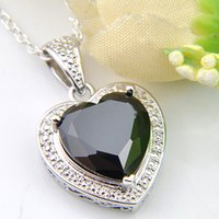 Luckyshine 10 Pcs 1Lot Halloween Jewelry Gift Heart-shaped Black Onyx Gemstone 925 Sterling Silver Necklaces Pendant For Women 12mm