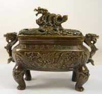 ブロンズホーム装飾民俗文化真鍮の素晴らしい中国中国の中国の古い手仕事の銅の大きな香のバーナーの彫刻ドラゴン
