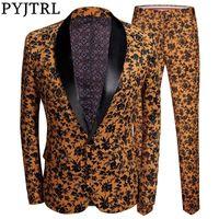 PYJTRL Tide Erkekler Artı boyutu 2 adet Seti Turuncu Siyah Çiçek Mens Sahne Singer Suit Sigara için Slim Fit Düğün Suits yazdır