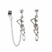 Cráneo asimétrico Hueso Dangle Ear Cuff Chain Pendientes Clip-on Especial gusto y personalidad Joyería de moda