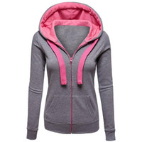 2019 female autumn winter zppers long sleeves cord hooded po...